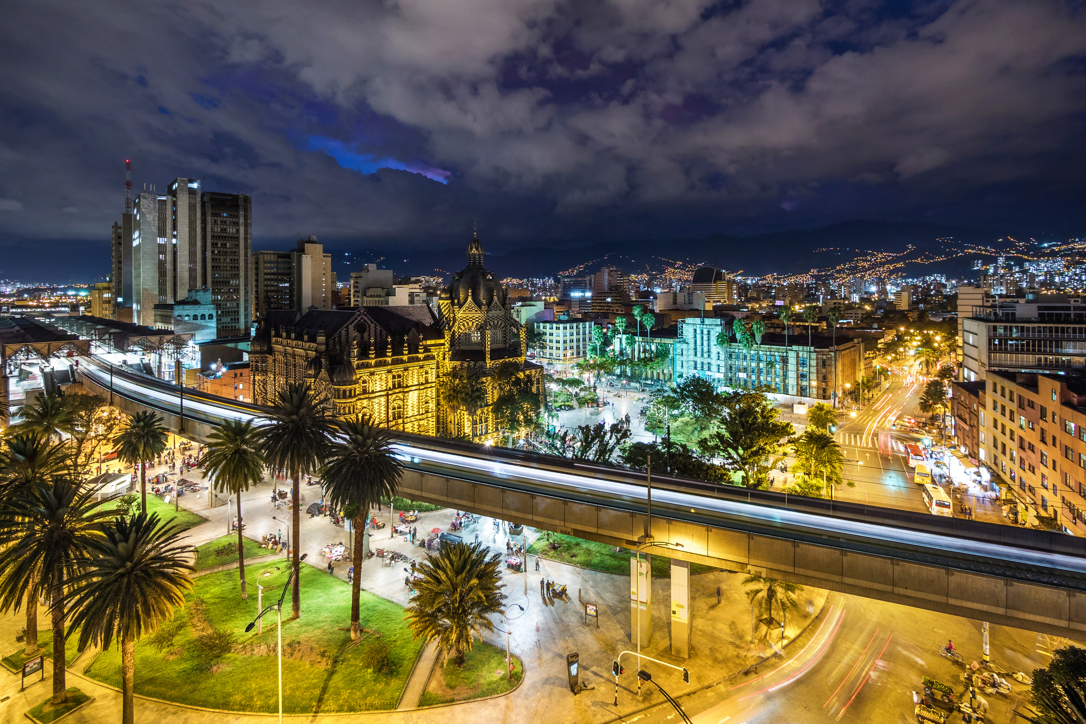 Plaza Botero Square and Downtown Medellin at Dusk in Medellin, Colombia